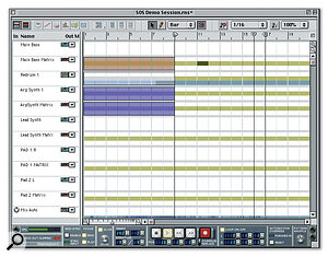 The main sequencer's Arrange view shows its conventional piano‑roll note display.