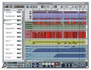 The Edit window, with an individual track's data separated into lanes for easy viewing and editing.