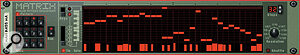 The Matrix step‑sequencer: enter steps by clicking in the grid to position a note lozenge, then draw in the required velocity in the column below. The grid display shows one octave at a time, but is switchable over five octaves.