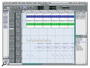 The software side of a Pro Tools system: the Edit window of the Pro Tools application. Here, two audio tracks and several MIDI tracks are shown, and the data is being displayed with default settings, which depict MIDI as continuous piano‑roll bars with fairly large track height. This is great for detailed editing, but if you require a different look suitable for arranging song structure, it is possible to shrink the track heights and set the MIDI tracks to display regions instead.
