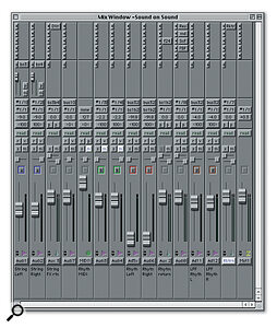The software side of a Pro Tools system: the Edit window of the Pro Tools application. Two audio tracks and several MIDI tracks are displayed, and the data is being displayed with default settings, which show MIDI as continuous piano‑roll bars with fairly large track height. This is great for detailed editing, but if you require a different look suitable for arranging song structure, it is possible to shrink the track heights and set the MIDI tracks to display regions instead.