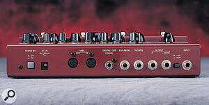 In addition to its signal input and output jacks, the DG Stomp sports an expression‑pedal input, an S/PDIF digital output, and a pair of MIDI sockets.