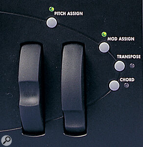 Andromeda A6 pitch bend and modulation wheels.