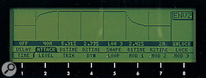 One of Andromeda's envelope parameters shown in the LCD.