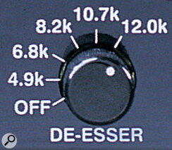 The dynamics processor can also operate as a de‑esser, if you wish, with a range of different de‑essing frequencies available.