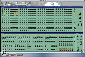 'DSQ32', a seven‑voice 'grid‑entry' drum machine. Dynamo is running as a plug‑in under Logic Audio here.