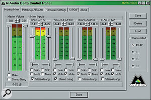 The Audiophile's Control Panel lets you create a monitor mix of up to four signals with zero latency.
