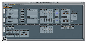 Two typical editor windows, for the Emu Morpheus (top) and Oberheim Matrix 1000 synth modules.