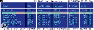 A boot manager such as OS Loader 2000, shown here, will let you choose from a selection of operating systems each time you boot up your PC, but don't expect fancy graphics from any tiny DOS‑based utility.