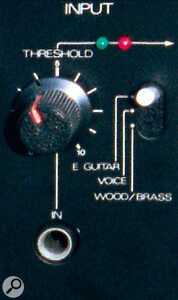 The three‑way input selector switch sets the P/V Synth to operate with either Guitar, Voice, or Woodwind/Brass instruments. Unfortunately, even with the best will, results with a guitar are unpredictable!