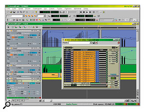 This close up of the Track View, shows all the parameters in the Track pane to the left, some of the new vector‑based automation in the Clips pane to the right, and one of the new DX Instruments in action. This is Edirol's Virtual Sound Canvas, and all five of the current MIDI tracks on this Project have been linked to it via the empty audio track at the bottom.