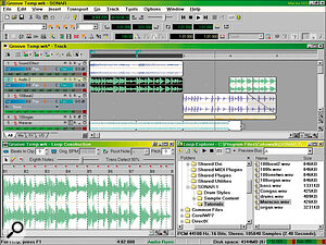 Loop‑based composition is easy using Groove Clips. Here you can see how they appear in the Clip pane with bevelled corners; the bottom Maracas track is being Slip edited to add loops. Across the bottom are the Loop Construction and Loop Explorer windows.