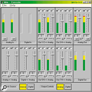 The Echo console utility provides the equivalent of a 24‑channel mixer with 'zero'‑latency monitoring: 12 channels can be routed to each of the Analog and Digital outputs.