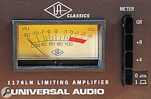 While the 1176LN's metering can be switched to show either the amount of gain reduction or the output level, the latter increases the level of noise and so would not normally be used after levels have been set.