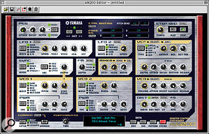 The main AN200 Editor screen, clearly designed to resemble the physical front panel, but with many more software‑only options.