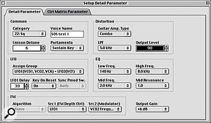 If you thought there were more options available via software from the editor's main screen, how about this? This is the editor's 'Detail Parameter' screen.