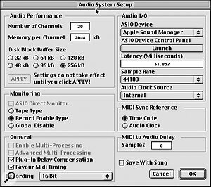 G4 multi‑processing is enabled in Cubase's Audio System Setup window. (The relevant options, shown in the bottom left corner, are greyed out because this screen was snapped on a single‑processor G4.)