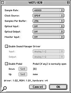 MOTU 828 MkI control panel options.