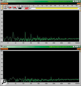 Buying a soundcard with balanced I/O can greatly reduce background noise levels, as seen here. The top trace shows the residual noise from an Ego Sys Wami Rack 24 output connected to a balanced input on my hardware mixer using an unbalanced cable, while the lower one shows a 20dB drop in hum levels, achieved simply by replacing the lead with a balanced one.
