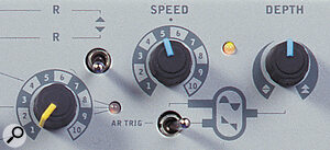 An LFO sawtooth waveform and envelope triggering mode are accessed from a new three‑position switch.