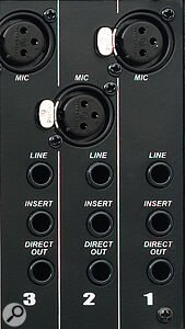 Each of the fourteen mono channels features balanced mic and line inputs, a balanced direct output and an insert point. There are three possible direct output sources, selectable via internal jumpers.