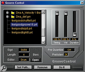 Groove templates within Cubase VST can be applied from the Groove Control window, with sliders showing the degree of timing, velocity and duration change.