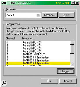 Although most music software lets you address multiple MIDI ports, choosing Microsoft's MIDI Mapper as an output lets you send each MIDI channel to a different port, even with applications that can only select a single MIDI output device.