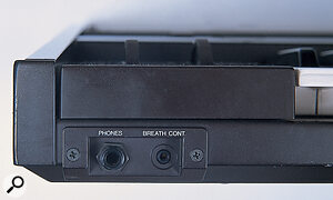 Breath control was an unusual expressive feature offered by the DX7. The breath controller input is found next to the phones socket on the left front edge of the synth.