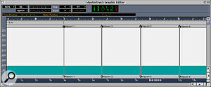 Here is the graphical Master track editor, showing my original Meter Hitpoints (top) and the Time Hitpoints created using the Mirror and Link operation.