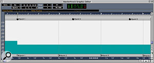 Here, I've adjusted the tempo to the right of the song position so as to line the Time Hitpoints up with the bar divisions in the Meter ruler at the top of the tempo display: each Hitpoint now falls at the start of a bar, and Cubase's tempo is thus the same as that of my MIDI part. Note how the Meter Hitpoints at the top have stayed fixed relative to the Meter ruler even though the tempo has been altered.