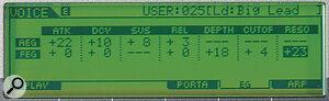 Editing Amplitude/Pitch Envelope Generators via the LCD.