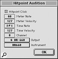 The Hitpoint Audition dialogue box, which lets you set up a test 'metronome' to audition your manual hitpoints.