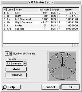 Nuendo's surround support is freely configurable thanks to its VST Master Setup dialogue. Templates are included for all common surround formats, and you can create your own to reflect any special features of your own speaker layout.