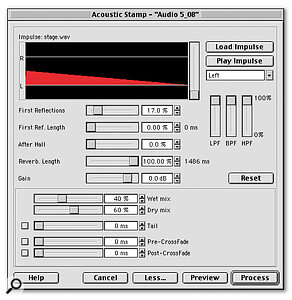 The Acoustic Stamp tool is one of Nuendo's many off‑line plug‑ins, and applies reverb 'sampled' from real environments.