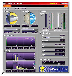 For many musicians, the highlight of the UAD1 bundle will be Realverb Pro, a versatile, high‑quality reverb with an attractive graphic interface