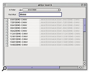 If you've lost a sound, the powerful AKsys search function helps you find it again!