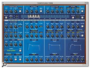 The Program editor presents all parameters in a virtual synth panel, with global parameters at the top and keygroup parameter controls below. Keygroups are easily created by dragging samples onto the virtual keyboard, and a system of tabs enables you to navigate between them.