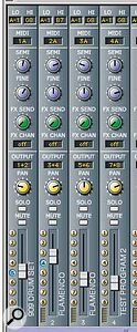 The Multi window is laid out in the style of a mixer, and offers up to 128 channels (four are shown here). You can assign Programs to a Multi channel just by dragging and dropping them from the Browser.