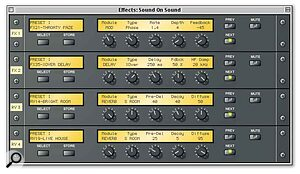This editor represents the optional EB20 board's four effects groups (two multi‑effects and two reverbs).