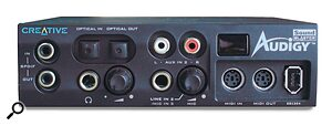 The most expensive eX version of the Audigy locates the features of the Audigy Drive in a stand‑alone external box.