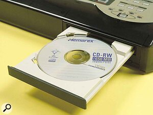 The CDX1 not only uses its CD‑RW drive for recording and playing back multitrack audio. It also uses it to import audio from CDs and CD‑ROMs, as well as for mastering finished tracks to CD‑R.