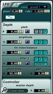 LFOs can be edited from this window. As with the main oscillator waveforms, you have a choice of preset and eight user waveforms.