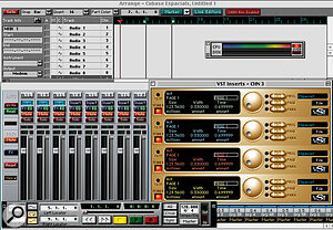 Figure 2 — Cubase has 12 Espacials loaded as Channel Inserts. The Performance Indicator is showing processor overload without running the song!