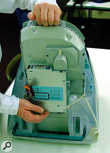 The involved iMac upgrade process. First, remove the internal assembly from the casing...