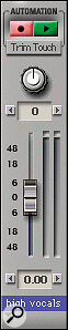 A Track Strip in Trim mode. Note the altered volume fader scale, and also the automation Record/Play‑enable buttons.
