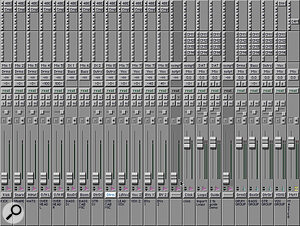 Mixer starting point for recording a small rock band.