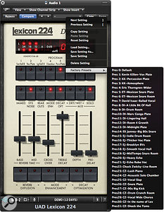 A big bonus with UA's plug‑in recreation of the 224 is the inclusion of many presets from big‑name engineers.
