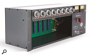 Heritage Audio's 4U‑high MCM8 II built on Radial's idea of incorporating asumming bus by placing the level and pan controls in line with the channels.