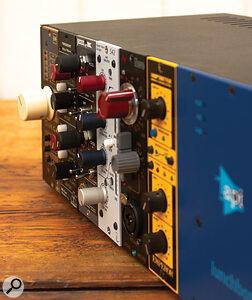 Various 500-series modules in API rack.