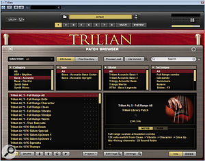 A good test subject for memory access: Spectrasonics' Trilian features a2.3GB Acoustic Bass instrument.